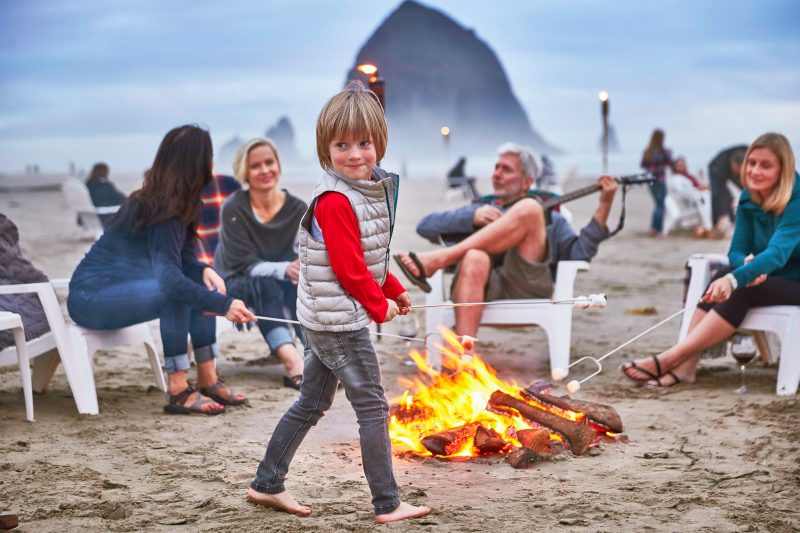 Family bonfire in Cannon Beach, Oregon.