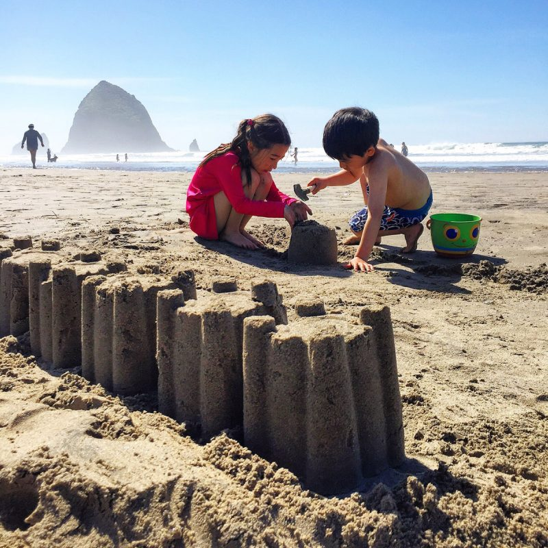 Making sandcastles in Cannon Beach, Oregon.