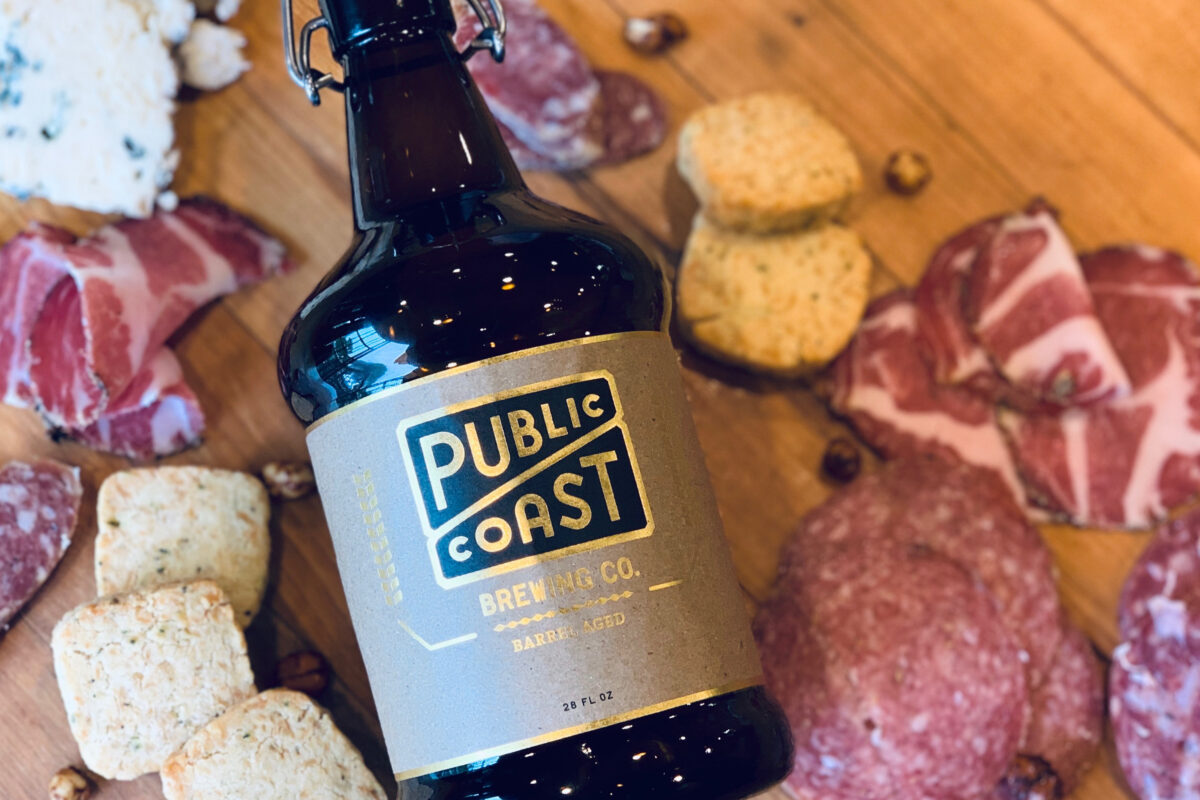 Barrel Aged Beer Bottle and Sausage